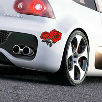 Red Vinyl Adhesive Rose Flower Car Sticker Auto Motor Scratch Cover Decal Emblem