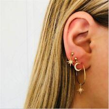 4pcs Bohemian Large Circle Earrings Ear Clip Crystal Moon Star Stud Jewelry Set