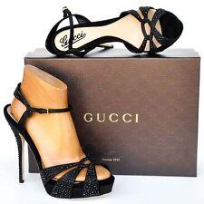 GUCCI New sz 39 9 $1650 Auth Designer Womens Crystals Sandals Heels Shoes Black