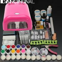 Full Pro 36W Cure Lamp Dryer + 12 Color UV Gel Nail Art Tips Tools Kit Set New