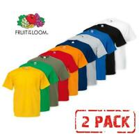 2 PACK MEN'S FRUIT OF THE LOOM PLAIN 100% COTTON BLANK T SHIRT TEE'S T-SHIRT NEW