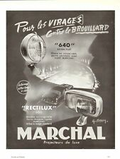 1954 Publicite Phares MARCHAL -Anti-brouillards, Automobile