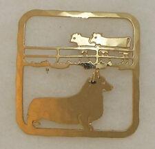 Pembroke Welsh Corgi Jewelry Gold Scene Pin