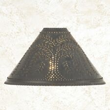 Country new handcrafted blacken TIN punched WILLOW oil lamp shade / nice