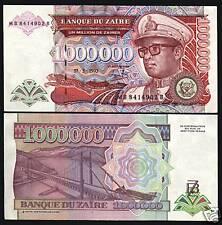 ZAIRE CONGO 1000000 ZAIRES P45 1993 X 100 MILLION LEOPARD UNC BUNDLE LOT NOTE