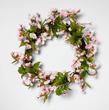 """Threshold 18"""" Artificial Cherry Blossom Wreath Pink & Green Home Decoration"""