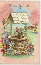 VINTAGE STONE GOLD WISHING WELL GARDEN FLOWER HOUSE SPRING SEASON CARD ART PRINT