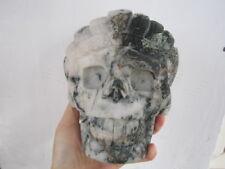 1974g(4.35lb) NATURAL  CRYSTAL Carved Tribal chiefs skull Healing