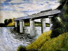 Stretched, Hand Painted Oil Painting, Claude Monet Railroad Bridge Repro 36x48in