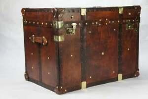 Antique Handmade English Tan Leather Coffee Chest Coffee Table Trunk Box TT
