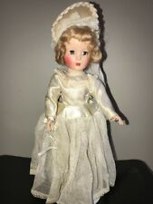 14� Hard Plastic Bride Doll Original Dress 1950's Made in Usa