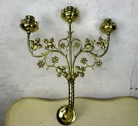 Triple Wall Candle Holder Neo Gothic Brass Metal Religious Church Candelabra HTF