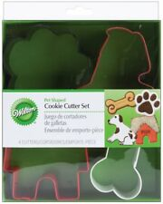 Wilton Pet Theme Metal Cookie Cutter 4-Piece Set Paw Print, Bone, Dog, Dog House