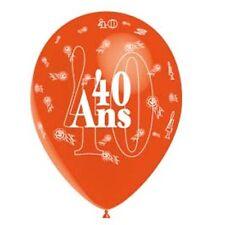 """1 ballons de baudruche """"40 ans"""" orange 80 cm t3'20/40 decoration anniversaire"""