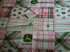 Embroidered PILLOWCASE Standard Size JOHN DEERE Farm Tractors pink cotton