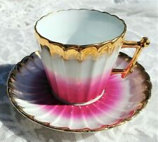 GORGEOUS Pink/White/Heavy Gold Trim TEACUP & SAUCER