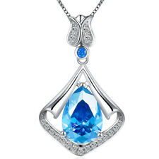 3.05 Ct  Mermaid Drop Created Blue Topaz Birthstone Sterling Silver Necklace