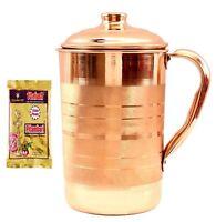 Pure Copper Jug Pitcher,1700 ml for Storage & Serving Water Free Pitambri