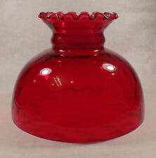 """10"""" Glass Ruby Dot Optic Student Oil Lamp Shade Crimped Top fits Aladdin #SH075R"""
