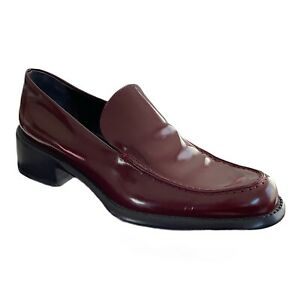 AUTHENTIC PRADA WINE RED BURGANDY PATENT LEATHER LOAFER LOW HEEL SHOES 40/9