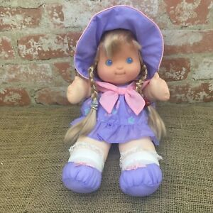 Vintage Fisher Price Puffalump Kids Doll Purple Dress Blonde Hair Nylon 1992