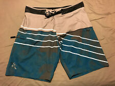Da Hui Mens 36 Blue Green Gray Cargo Stretch Surf Board Shorts