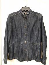 J Jill Women's Size 14 100% Cotton Blue Denim Button Front Jacket