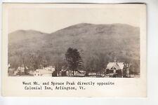 Real Photo Postcard West Mountain & Spruce Peak opp. Colonial Inn Arlington VT