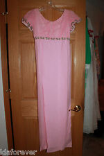 Vintage Long Dress 1960's Pink layered straight skirt dress good vintage cond