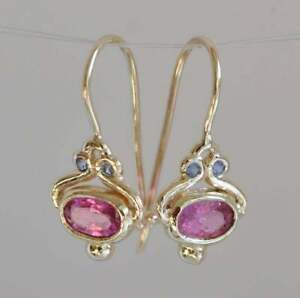 Pink Tourmaline & Blue Sapphire 14k Yellow Gold Over Everyday Dangle Earrings