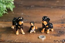 More details for set of 3 ceramic rottweiler dogs family ornaments collectable doll figurine gift