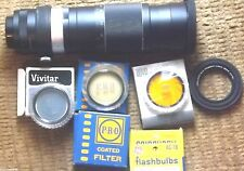 Nice 300mm Camera Lens w &  2 Collapsible Rubber Hoods & 5 Different Filters