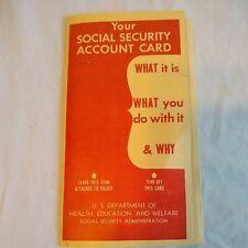 Vintage Social Security Account Card Pamphlet Brochure Printed 1963