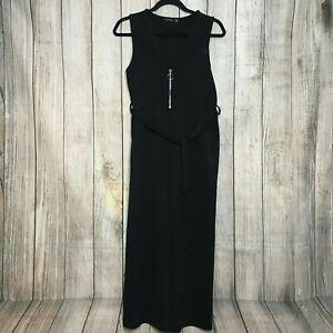 NEW - Fabulous Black BOOHOO Zip Wide-Leg Jumpsuit Size 12