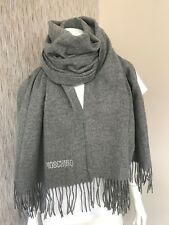 MOSCHINO DIAMANTÉ LOGO FINE MERINO WOOL GREY SCARF WRAP STOLE MADE IN ITALY