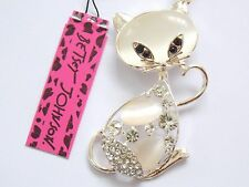 Betsey Johnson Cat Pendant Necklace Opal and Rhinestones