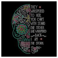 I Am The Storm Sugar Skull Dia De Los Muertos Rhinestone Hotfix Iron On Transfer