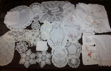 Lot of Vintage Linen Tableware - Embroidered Cloth, Tablecloths, Crochet etc