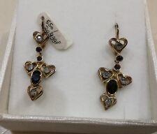 ORECCHINI  oro giallo/ argento con  diamanti e  zaffiri  stile antico