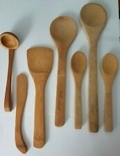 Lot of 7 Pampered Chef Wooden Kitchen Utensils Spoons Spatula Dipper Spreader