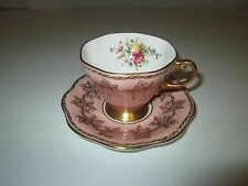 Foley Bone China Floral Pink & Gold Gilt Tea Cup & Saucer 1850 EB