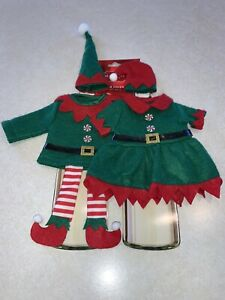 St. Nicholas Square 2 Piece Set Boy Girl Elf Wine Bottle Covers Holiday New