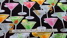 Cocktail Glasses Fabric 100% cotton, Metallic silver cocktails, GM6516