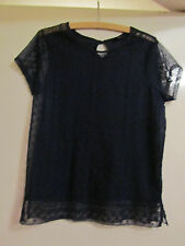 Navy Blue Floral Lacey See Through T-Shirt Style Top in Size 12 - no cami