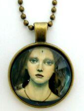 Médaillon vintage + collier bronze / Medallion +Chain necklace-Retro paint girl