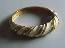 Fab 1980's Vintage Gold Tone & Cream Enamel  Bracelet