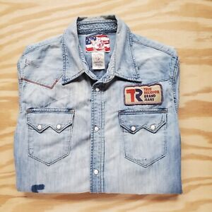 True Religion Denim Western Embroidered Skeletons Patches Pearl Snap Shirt L