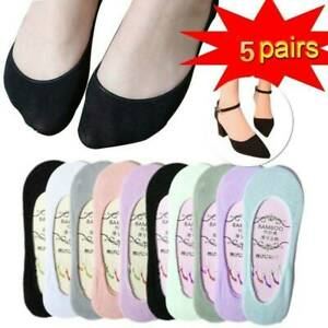 5 Pairs Women Loafer Boat No Show Invisible Nonslip Liner Low Cut Cotton Socks /