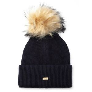 SUPERDRY Womens Heritage Ribbed Bobble Hat Beanie Navy