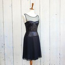 BCBG Max Azria Black Sequin Mesh Pleat Skirt Party Dress Size 4